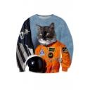 New Arrival Cool Cartoon Soldier Cat Printed Round Neck Long Sleeve Sweatshirt
