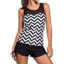 Color Block Striped Printed Tank Top Plain Sports Shorts Swimwear