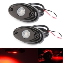 LED Rock Light for JEEP ATV SUV Off Road Trucks Boat Waterproof Rock Proof, Red Light (Pack of 2)