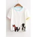 Fresh Simple Cartoon Cat Printed Round Neck Short Sleeve Leisure T-Shirt