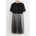 Casual Loose Round Neck Short Sleeve Sheer Mesh Patched Midi T-Shirt Dress