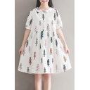 Lapel Collar Short Sleeve Trees Printed Buttons Down Midi Smock A-Line Dress