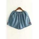 Elastic Waist Bow Decoration Plain Denim Shorts with Slanting Pockets