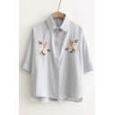 Floral Embroidered Striped Printed Lapel Collar Half Sleeve Summer's Shirt