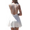 Sexy Cutout Straps Back Sleeveless Plain Mini A-Line Dress
