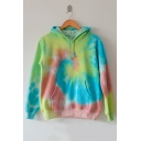 New Fashion Tie Dye Long Sleeve Loose Casual Hoodie with Pockets