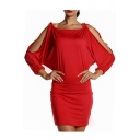 Sexy Tied Squared Neck Cold Shoulder Batwing  Long Sleeve Plain Mini Bodycon Dress