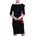 Elegant Ruched Ruffle Side 3/4 Length Sleeve Boat Neck Midi Pencil Dress