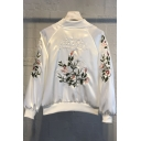 Floral Letter Embroidered Long Sleeve Stand Up Collar Zip Placket Baseball Jacket