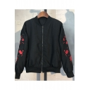 New Arrival Floral Embroidered Stand Up Collar Long Sleeve Zip Up Baseball Jacket