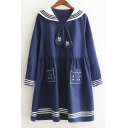 Lovely Contrast Lapel Embroidery Cat Pattern Long Sleeve Striped Trim Mini Smock Dress