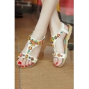 New Bohemia Stylish Floral Beaded Flat Sandal