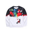 Stylish Printed Round Neck Long Sleeve Pullover Leisure Sweatshirt