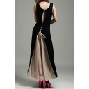 New Stylish Lace Up Back Chiffon Patchwork Color Block Sleeveless Maxi Dress