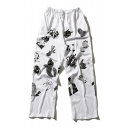 New Collection Cartoon Printed Elastic Waist Wide Legs Leisure Sports Pants
