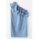 Women's One Shoulder Ruffle Front Sleeveless  Plain Mini Denim Shift Dress
