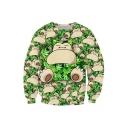 Hot Fashion Digital Cartoon Print Round Neck Long Sleeve Pullover Sweatshirt
