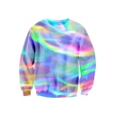Long Sleeve Round Neck Chic Rainbow Striped Pattern Leisure Sweatshirt