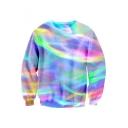 Long Sleeve Round Neck Chic Rainbow Striped Pattern Leisure Sweatshirt