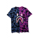 Camouflage Cartoon Printed Short Sleeve Round Neck Pullover T-Shirt