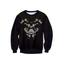 New Fashion Floral Printed Round Neck Long Sleeve Pullover Sweatshirt