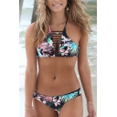 Sexy Hollow Out Floral Printed Halter Neck Top Bikini Bottom Swimwear