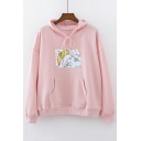 Lovely Cartoon Girl Pattern Long Sleeve Loose Casual Hoodie with Pockets