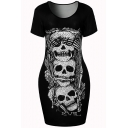 New Fashion Skull Pattern Round Neck Short Sleeve Mini Bodycon T-Shirt Dress