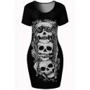 New Fashion Skull Pattern Round Neck Short Sleeve Mini Bodycon T-Shirt Dress