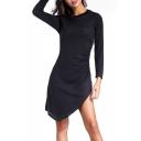 New Arrival Asymmetric Hem Long Sleeve Round Neck Plain Dress