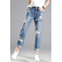 New Arrival Ripped Straight Legs Folded Cuff Summer's Leisure Capris Jeans