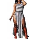 Sexy Spaghetti Straps Split Front Striped Color Block Sleeveless Maxi Dress