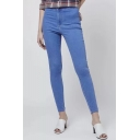 Vintage Springy High Waist Plain Basic Skinny Jeans