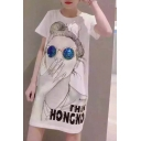 Women's Cartoon Printed Sequined Short Sleeve Round Neck Mini T-Shirt Dress