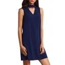 V Neck Simple Plain Bow Back Sleeveless Mini Shift Dress