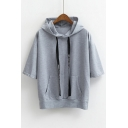 Casual Loose Half Sleeve Summer's Sports Hooded T-Shirt with Pockets