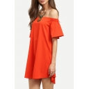 Sexy Off the Shoulder Short Sleeve Plain Mini Swing Dress
