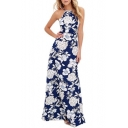 Glamorous Sleeveless Halter Floral Printed Zip Back Maxi A-Line Dress