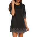 Leisure Half Sleeve Round Neck Geometric Printed Mini Swing Dress