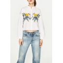 Chic Embroidery Floral Pattern Lantern Long Sleeve Single Breasted Shirt
