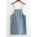 Summer's Basic Plain Spaghetti Straps Denim Overall Dress with Pockets