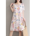 Summer Arrival Short Sleeve Floral Printed Round Neck Midi Swing Dress