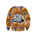Hot Fashion 3D Cartoon Printed Round Neck Long Sleeve Pullover Sweatshirt