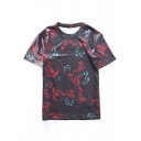 New Arrival Floral Printed Round Neck Short Sleeve Pullover Leisure T-Shirt
