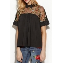 Fashion Sheer Patchwork Shoulder Short Sleeve Lapel Embroidery Floral Pattern Top