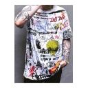 Street Style Alien Letter Graffiti Round Neck Short Sleeve Casual T-Shirt
