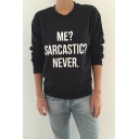 Basic Simple Letter Pattern Long Sleeve Round Neck Loose Pullover Sweatshirt