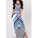 Hot Fashion Halter Neck Tribal Printed Split Side Bodycon Maxi Dress