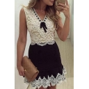 Chic Lace Patchwork V-Neck Sleeveless Color Block Midi A-Line Dress