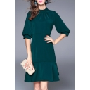 New Fashion Stand Up Collar Lantern Half Sleeve Ruffle Hem Plain Midi Dress